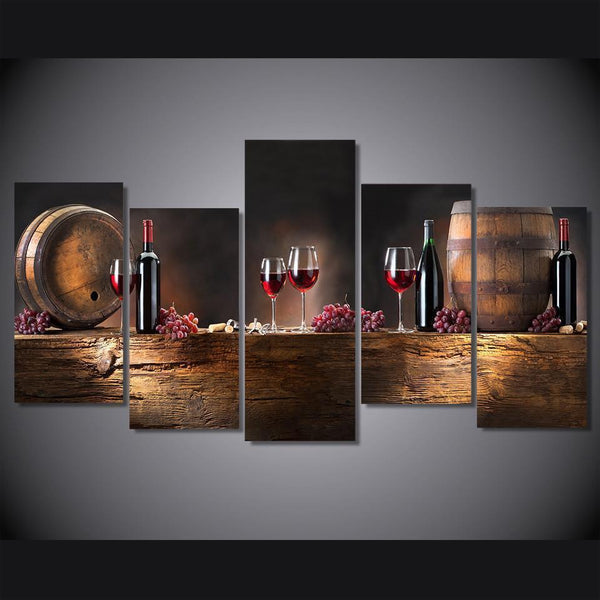 Vintage Oak Barrel Red Wine Bottle & Glasses 5 Piece Canvas Wall Art-NeatFind.net