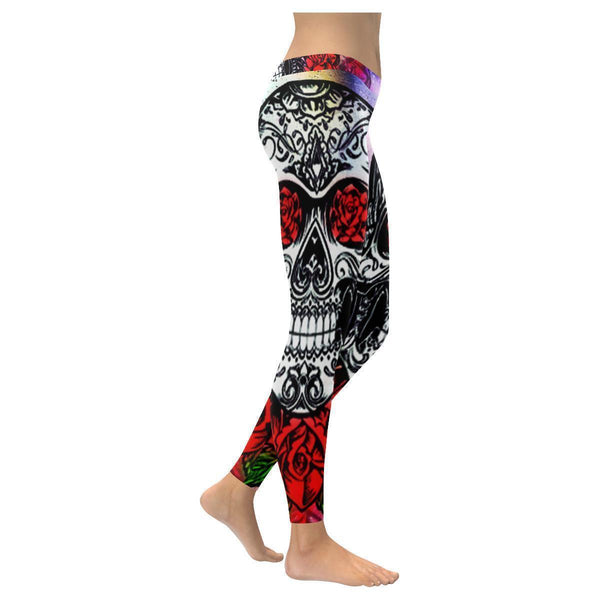 Vintage Red Roses Mexican Sugar Skull Soft UPF40 Non See Through Womens Leggings-NeatFind.net