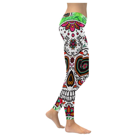 Warm Colorful Mexican Sugar Skull Soft UPF40+ Non See Through Womens Leggings-NeatFind.net