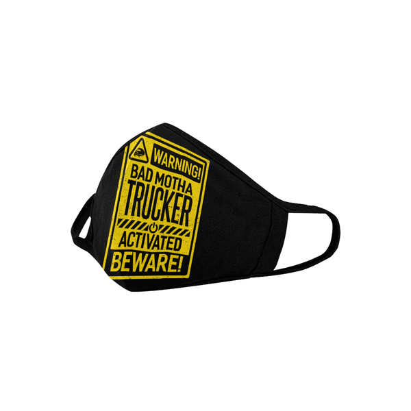 Warning Bad Motha Trucker Activated Beware Washable Reusable Cloth Face Mask-Face Mask-NeatFind.net