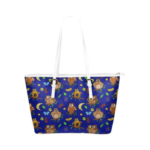 Water Resistant Small Leather Multi Owls Tote Bags (5 colors)-NeatFind.net