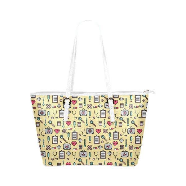 Water Resistant Small Leather Nurse Love Print Tote Bags (5 colors)-NeatFind.net