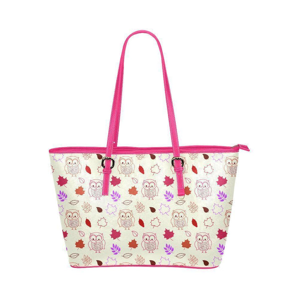 Water Resistant Small Leather Owl Leafs Tote Bags (5 colors)-NeatFind.net