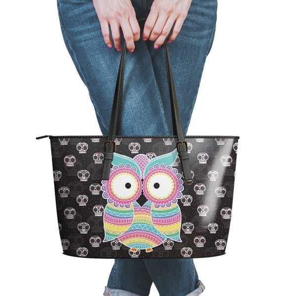 Water Resistant Small Leather Owl Sugar Skull Tote Bags (5 colors)-NeatFind.net