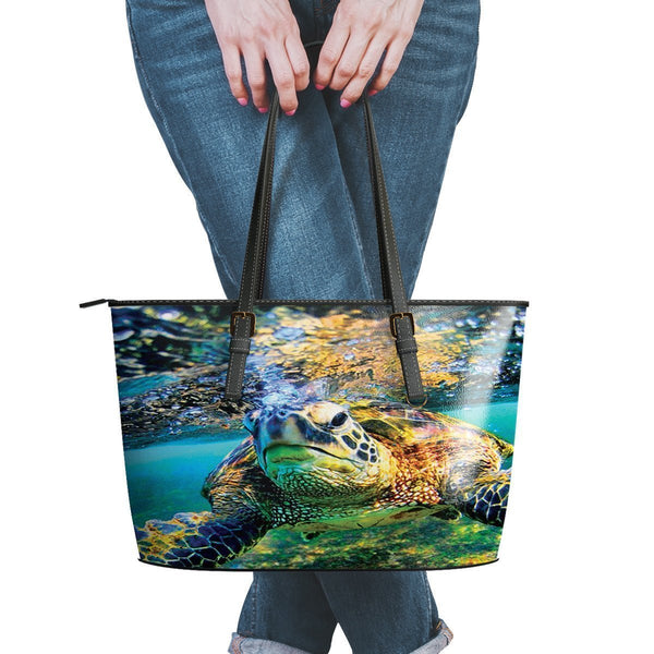 Water Resistant Small Leather Turtle Tote Bags (5 colors)-NeatFind.net