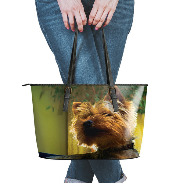Water Resistant Small Leather Yorkshire Terrier Tote Bags (5 colors)-NeatFind.net
