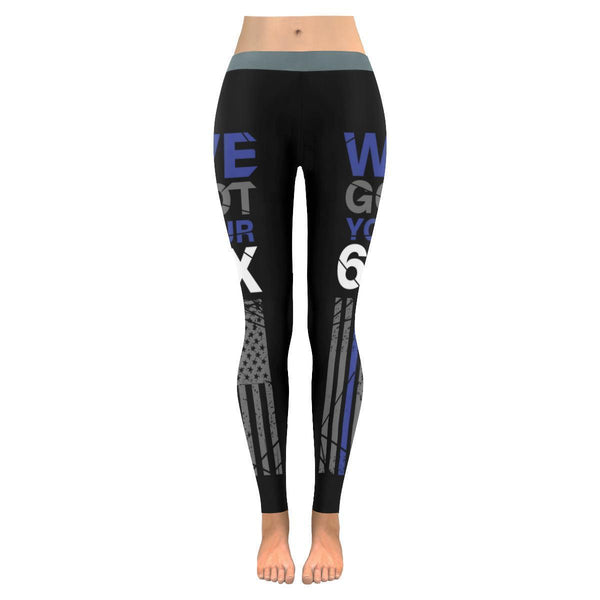 We Got Your 6IX Thin Blue Line Police UPF40+ Moisture Wicking Womens Leggings-NeatFind.net
