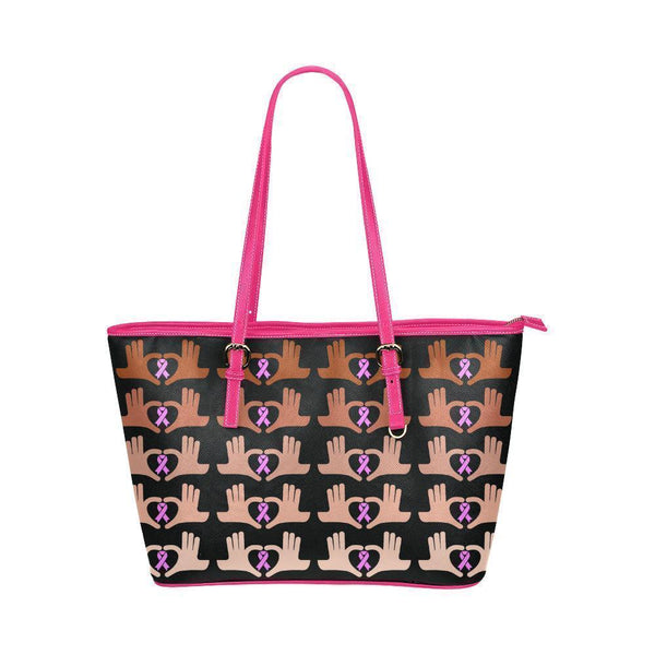 We Support Breast Cancer Water Resistant Small Leather Tote Bags (5 colors)-NeatFind.net