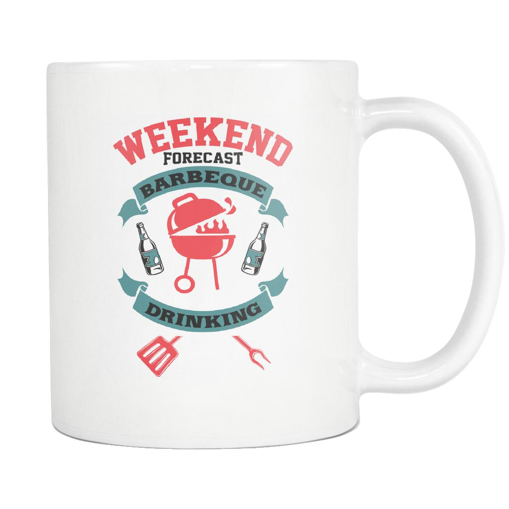 Weekend Forecast Barbeque With A Chance Of Drinking BBQ Funny Gifts White Mug-NeatFind.net