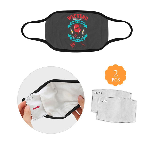 Weekend Forecast BBQ With Chance Of Drinking Beer Washable Reusable Face Mask-L-Grey-NeatFind.net
