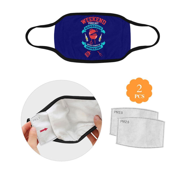 Weekend Forecast BBQ With Chance Of Drinking Beer Washable Reusable Face Mask-L-Navy-NeatFind.net
