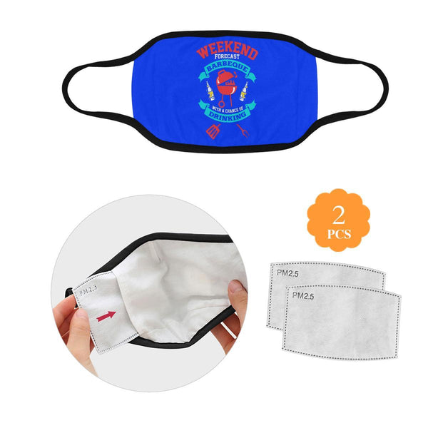 Weekend Forecast BBQ With Chance Of Drinking Beer Washable Reusable Face Mask-L-Royal Blue-NeatFind.net