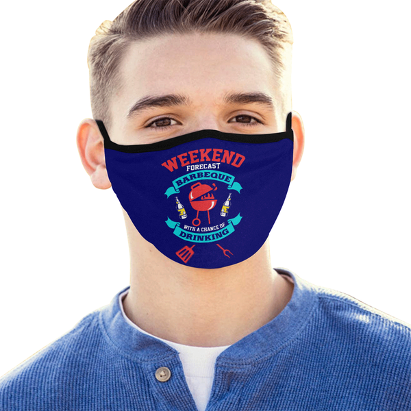 Weekend Forecast BBQ With Chance Of Drinking Beer Washable Reusable Face Mask-NeatFind.net