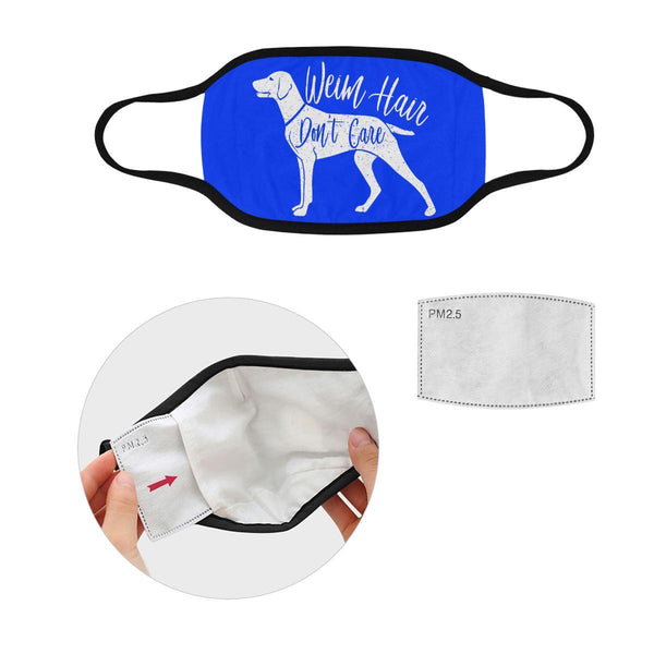 Weim Hair Don't Care Weimaraner Washable Reusable Cloth Face Mask With Filter-Face Mask-S-Royal Blue-NeatFind.net