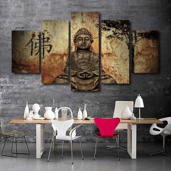 What You Imagine You Create - Buddha 5 Piece Canvas Wall Art-NeatFind.net