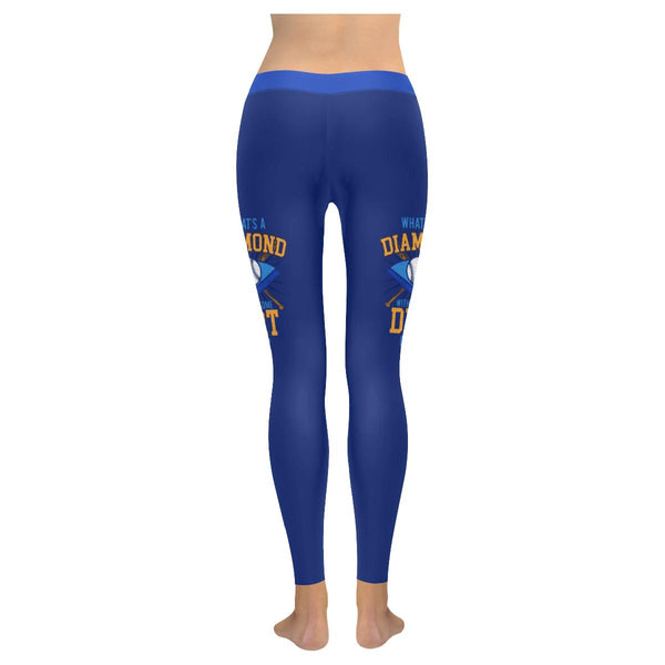 Whats A Diamond Without Some Dirt On It Softball Mom Gift Ideas Womens Leggings-NeatFind.net
