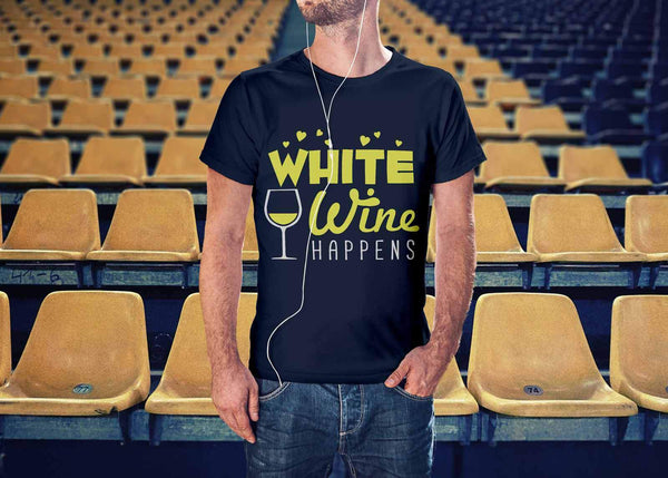 White Wine Happens Cool Unique Funny Enthusiast Snob Novelty Gift Ideas TShirts-NeatFind.net