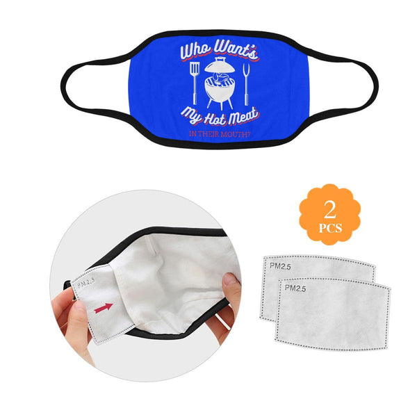 Who Wants My Hot Meat In Their Mouth BBQ Washable Reusable Cloth Face Mask-L-Royal Blue-NeatFind.net