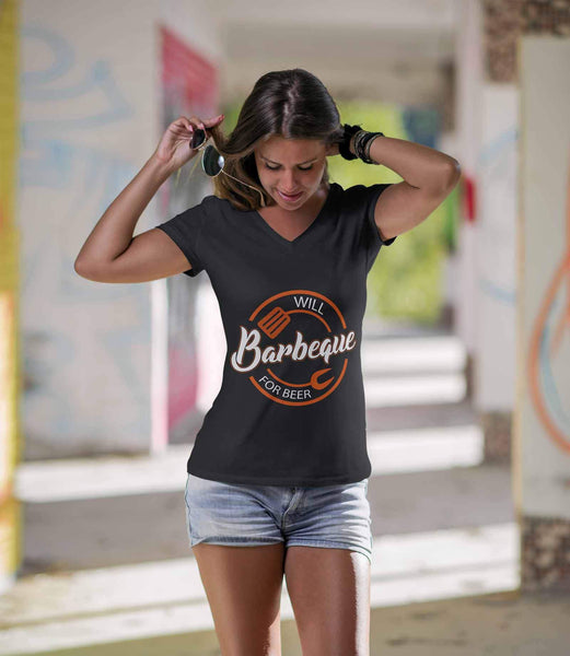 Will Barbeque For Beer Awesome BBQ Cool Funny Gift Soft Comfy VNeck TShirt Women-NeatFind.net
