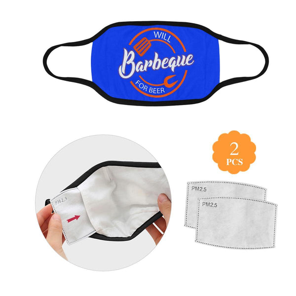 Will BBQ For Beer Sign Funny Washable Reusable Cloth Face Mask With Filter-L-Royal Blue-NeatFind.net