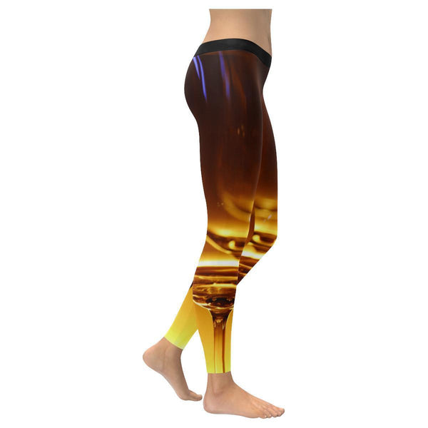Wine Print Low Rise Leggings For Women-NeatFind.net