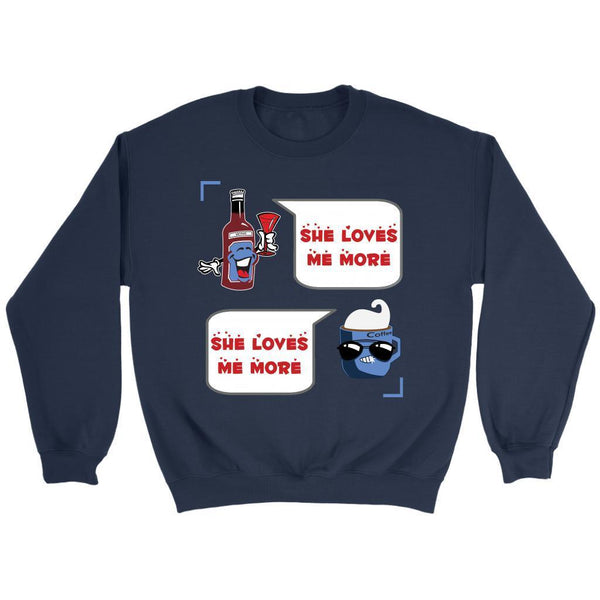 Wine VS Coffee Said She Loves Me More Funny Humor Quirky Cool Gift Idea Sweater-NeatFind.net