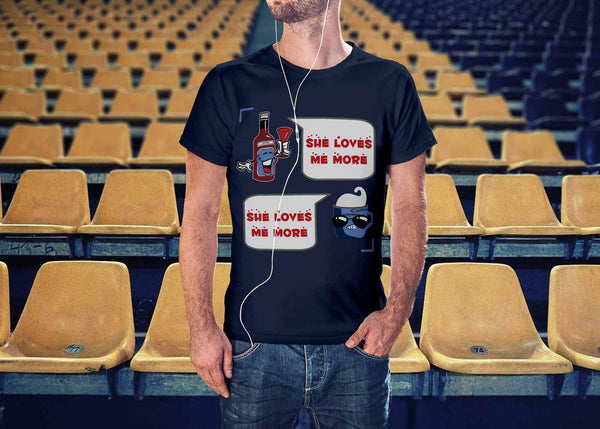 Wine VS Coffee Said She Loves Me More Funny Humor Quirky Cool Gift Idea TShirts-NeatFind.net