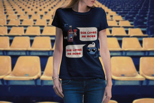 Wine VS Coffee Said She Loves Me More Funny Humor Quirky Cool Gift Women TShirt-NeatFind.net
