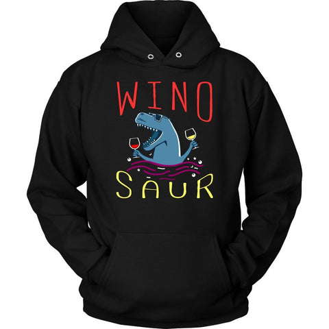WinoSaur Coolest Wine Drinking Dinosaur Funny Unique Novelty Gift Ideas Hoodie-NeatFind.net