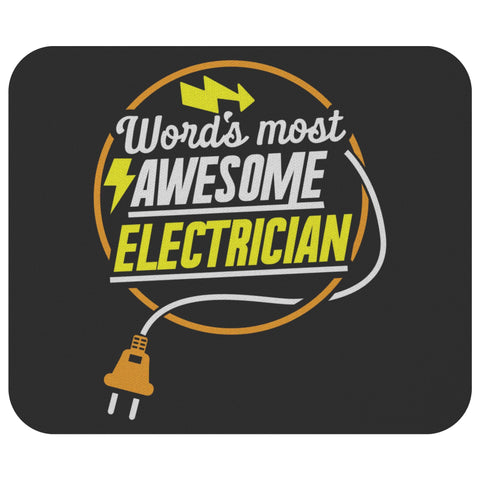 Worlds Most Awesome Electrician Unique Funny Lineman Contractor Gifts Mouse Pad-NeatFind.net
