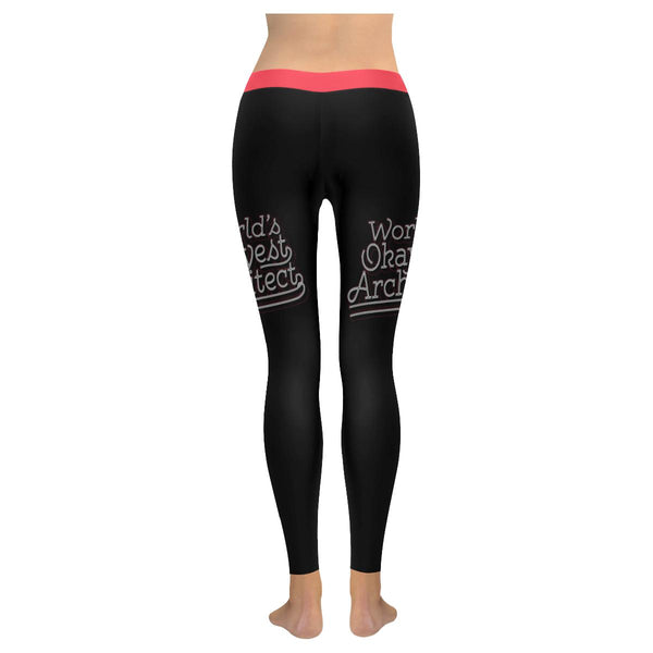 Worlds Okayest Architect Creative Funny Thoughtful Gift Ideas Womens Leggings-NeatFind.net