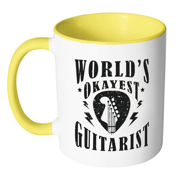 World's Okayest Guitarist Cool Funny Awesome Unique Guitarist 11oz Accent Coffee Mug-NeatFind.net