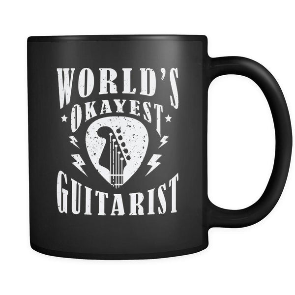 World's Okayest Guitarist Cool Funny Awesome Unique Guitarist Black 11oz Coffee Mug-NeatFind.net