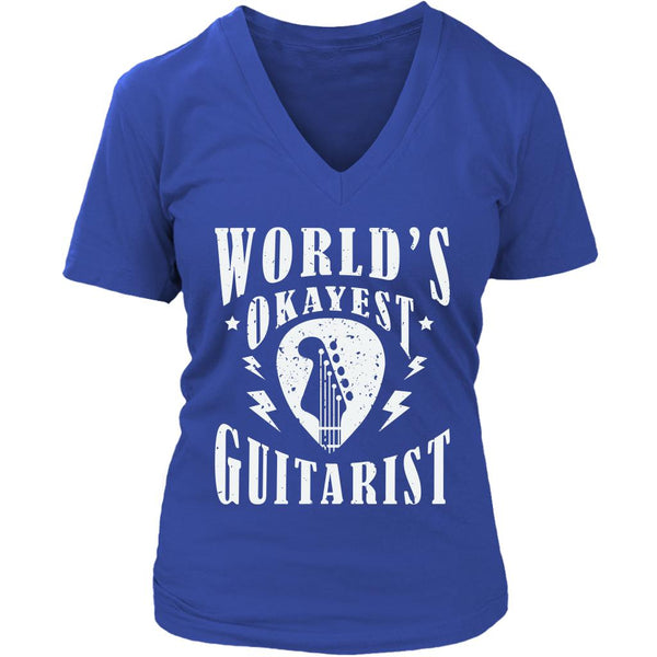 World's Okayest Guitarist Cool Funny Awesome Unique Guitarist V-Neck T-Shirt For Women-NeatFind.net