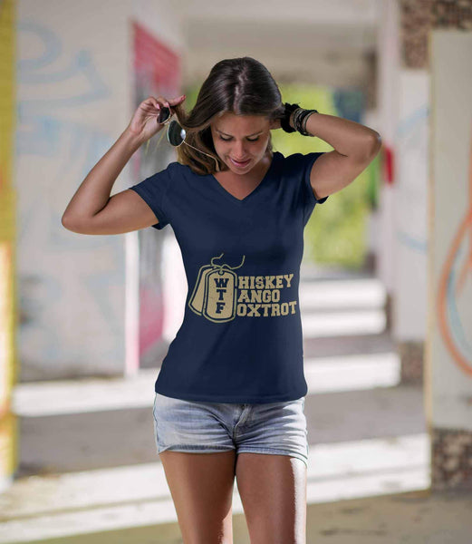 WTF Whiskey Tango Foxtrot Cool Funny Quirky Women Soldier Military VNeck TShirt-NeatFind.net