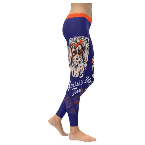 Yorkshire Terrier Comfy UPF40+ Moisture Wicking Non See Through Womens Leggings-NeatFind.net