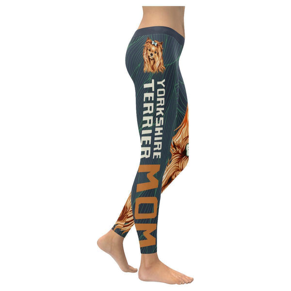 Yorkshire Terrier Mom Soft UPF40 Moisture Wicking Non See Through Women Leggings-NeatFind.net