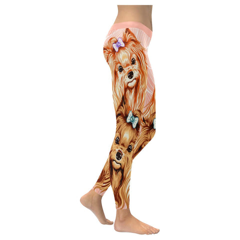 Yorkshire Terrier Soft UPF40 Moisture Wicking Non See Through Women Leggings-NeatFind.net
