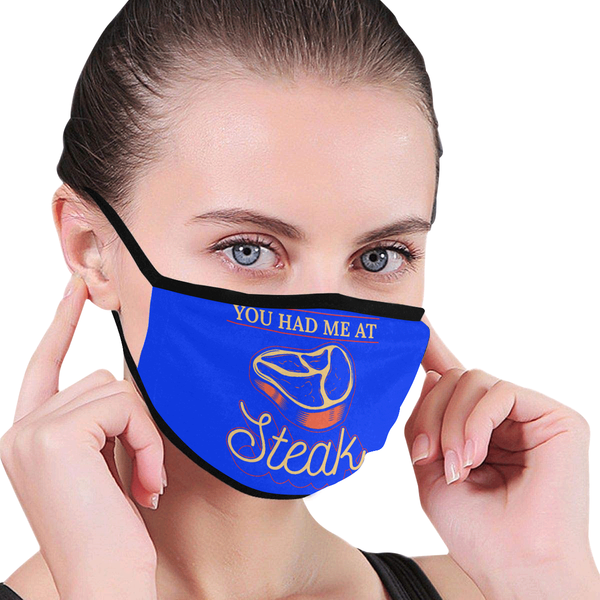 You Had Me At Steak Funny BBQ Washable Reusable Cloth Face Mask With Filter-NeatFind.net