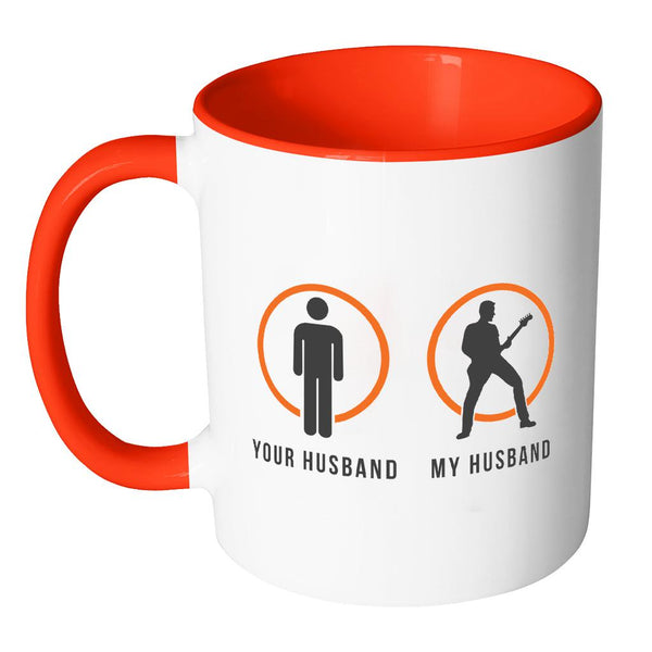 Your Normal Husband My Guitarist Husband Cool Funny Awesome Unique Guitarist 11oz Accent Coffee Mug-NeatFind.net