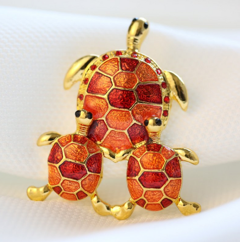 Broches Tortue Plaqué Or - Rouge/Orange