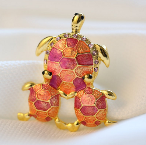 Broches Tortue Plaqué Or - Rose/Orange