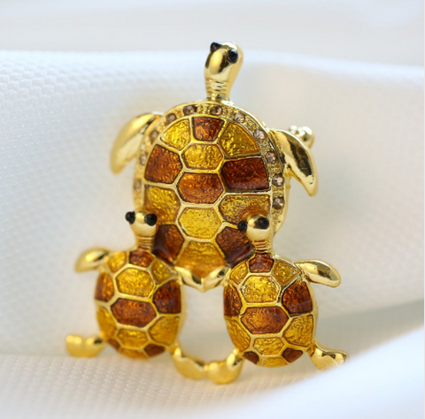 Broches Tortue Plaqué Or - Jaune/Doré