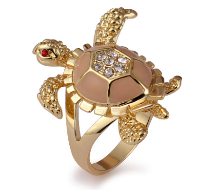 Bague Tortue Plaqué Or - Email Rose