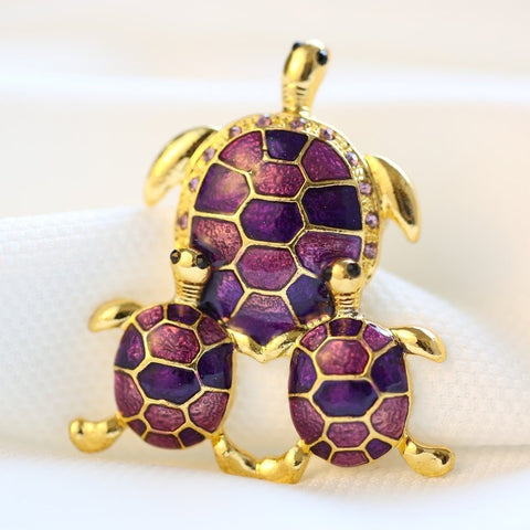 Broches Tortue Plaqué Or - Violet/Indigo