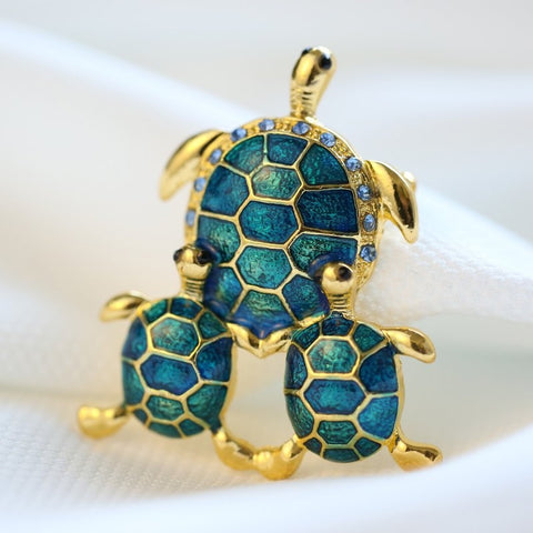 Broches Tortue Plaqué Or - Bleu/Turquoise
