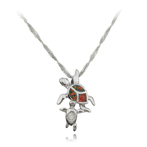 Collier 2 Tortues - Opal Rouge