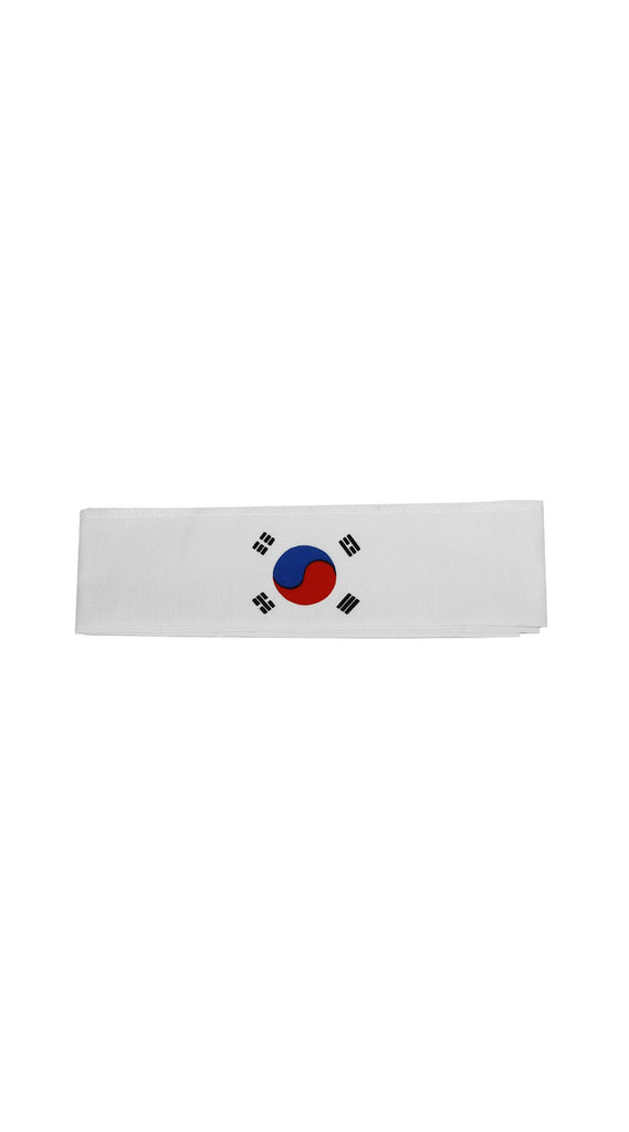 Headband: White Headband with Korean Flag