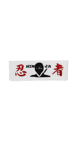 Headband: White Headband Masked Ninja with Red Kanji