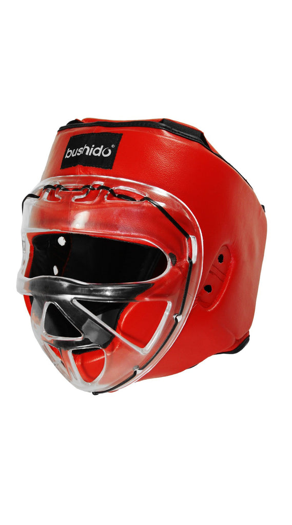 Headgear: Vinyl Sparring Head Gear with Clear Face Shield